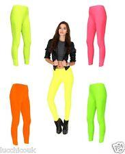 DONNE GINNASTICA NEON colore tinta unita pantaloni leggings BALLO INDUMENTO 8-16
