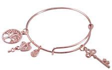 Fashion Rose Gold Color Expandable Wire Charm Bracelet Bangle