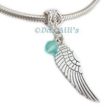 Cute Silver Tone Angel Wing Birthstone Crystal Slide Dangle Charm Fits Bracelets