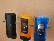 acrylic shower gel gravity shelf lynx  adidas bottles top down chrome bracket