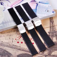 Men Black Waterproof Silicone Rubber Wrist Watch Strap Band Deployment Buckle