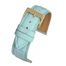 Blue Square Crocodile Grain Watch Strap with Nubuck lining  12mm 16mm 18mm 20mm