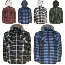 Mens Hooded Zip Jacket Warm Lumberjack Sherpa Fleece Padded Fur Lined Work Shirt