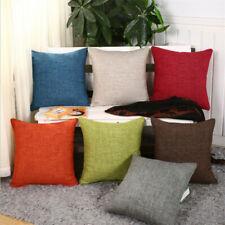 "18"" Linen Pure Color Thick Pillowcase Car Sofa Seat Cushion Cover Home Decor"
