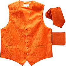"New Men's Formal Vest Tuxedo Waistcoat_2.5"" necktie set paisley wedding Orange"