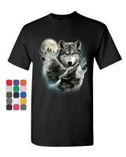 Howling Wolf Pack T-Shirt Wild Wilderness Animals Nature Moon Mens Tee Shirt