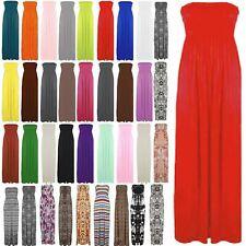 Ladies Strapless Long Maxi Boobtube Womens Sheering Bandeau Dress Plus Size 8-24