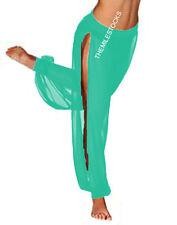 TMS TURQUOIS Chiffon Slit Harem Yoga Pant BellyDance Costume Tribal PANTALON CSH