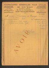 """SAINT-MAUR-des-FOSSES (94) FOURNITURES pour CYCLES / VELOS """"M. GUYOT"""" en 1933"""