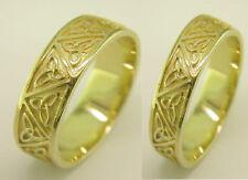 10K Irish Handcrafted Gold Celtic Trinity Knot Design Wedding Band Ring Set