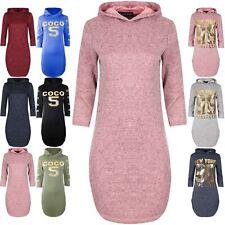 Ladies Womens Curved Hem Hoodie Hooded 3/4 Sleeve Marl Knitted Midi Shirt Dress