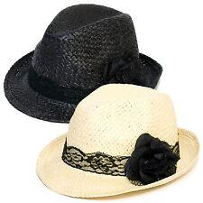 Sombrero Trilby De Paja Con Lazo De Encaje Negro Y Flor De Gasa