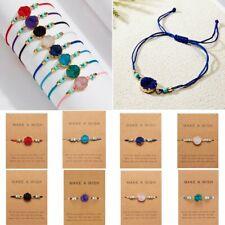 Charm Braid Resin Crystal Tibetan Make a wish Card Rope Bracelets Bangle Knot