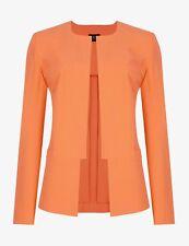 NUOVO M&S Collezione Luminoso Arancione Mandarino PASSO Giacca aperta sul davanti UK 12 & 24