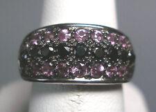 NUEVO 14 Quilates Original Diamante negro/Zafiro Rosa Anillo