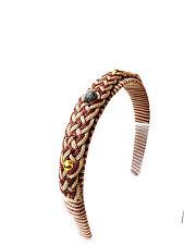 WHOLESALE JOB LOT BROWN CORDED AZTEC HEAD BAND MULTI STONE UNIQUE (UW6)