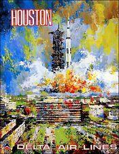 Houston Texas Vintage Poster Delta Airline Travel Print FREE US Post Low EU Post