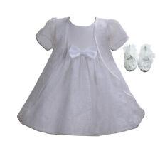 Battesimo Bambina Festa Vestito Mantella e Scarpe Bianco Avorio 0 3 6 9 12 18