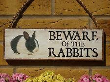 PERSONALISED RABBIT SIGN RABBIT HUTCH BEWARE RABBITS SIGN WARNING SIGN CAUTION