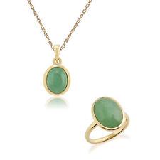 Gemondo 9ct Yellow Gold Jade Bezel Set Oval 45cm Necklace & Ring Set