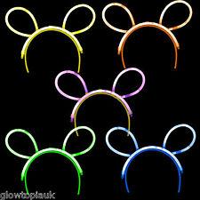 10x Brillan En La Oscuridad Conejo Orejas-Palillo del resplandor luminoso de neón-partes festivales