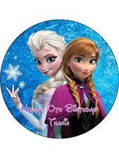 """DISNEY FROZEN ANNA & ELSA EDIBLE 7.5"""" ROUND PRINTED BIRTHDAY CAKE TOPPER"""