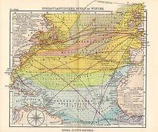 1944 SMALL GERMAN MERCANTILE MARINE MAP ~  NORTHERN ATLANTIC OCEAN IN WINTER