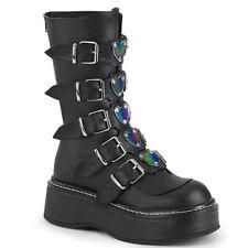 "Demonia 2"" Platform Black Rainbow Heart Plated 5-Buckle Strap Calf Boots 6-12"