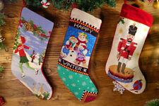 Beautiful Abstract Clawn Kids & Snowman Handmade Needlepoint Christmas Stocking