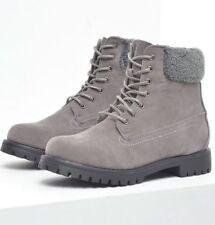 Sin duda Damas Con Cordones Imitación Gamuza Caminar Botas-Gris-UK Tamaños 3 - 7