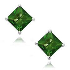 Emerald Square Princess Cut CZ Crystal WG 925 Sterling Silver Stud Earrings