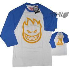 "SPITFIRE ""Bighead #1"" Raglan skateboard T-Shirt 3/4 Sleeve BLUE & WHITE S M only"
