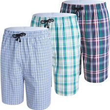 JINSHI Men's Sleep Shorts Cotton Plaid Sleepwear 3-Pack