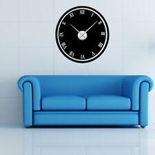 Sticker mural Horloge géante CADRAN COULEUR CHIFFRE ROMAIN + mécanisme aiguilles