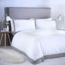 Madison Bedding Crisp White Bold Contrast Border Duvet Cover Set - Hotel Style