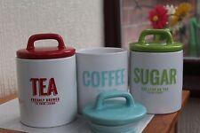 RETRO MULTICOLOUR SET OF 3 CERAMIC TEA COFFEE SUGAR STORAGE JARS CANISTERS NEW