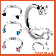 Cartilage Septum Helix Tragus Earrings Piercing Gem Horseshoe Ring Hoop Awl Bar