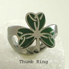 Shamrock Thumb Ring Irish Stainless Steel Silver Green Size 8-11