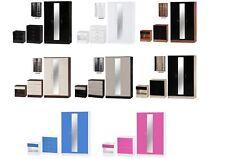 Alpha Gloss 3 Piece Bedroom Set - Bedside, Chest, 3 Door Mirrored Wardrobe