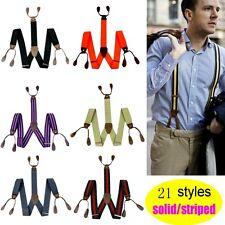 Black Adjustable Men's 35mm Width 6 Button holes unisex Suspenders Braces BD7H