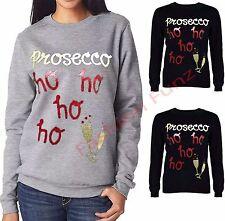 Womens xmas Fleece Jumper Glitter Texture Prosecco hoho Sweatshirt Pullover Top