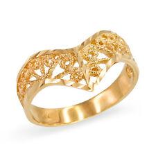 Solid 10k Yellow Gold Chevron Filigree Diamond Cut Ring