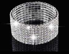 14k Rhodium Plated Bling Austrian Crystal 5 & 8 Row Stretch Bracelet Bangle