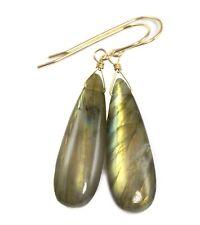 Labradorite Earrings Smooth Long Teardrops Simple Dangle Drops 14k Gold Sterling