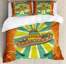 Fiesta Duvet Cover Set with Pillow Shams Latin America Sombrero Print