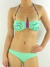 O'Neill Bikini Lentejuelas bandeau verde lentejuelas Copa B Cierre Delantero