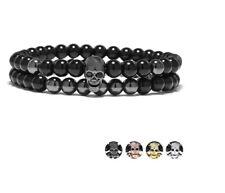 Bracelet - pour Femmes Tete Mort Pendentif Lot Perle Tête de Hommes #S39