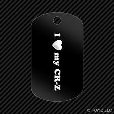 I Love my CR-Z Keychain GI dog tag engraved many colors crz