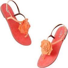 NWT Ann Taylor Loft Coral Viola Girl Flower Rosette Buckle Strap Sandals $39 7-8