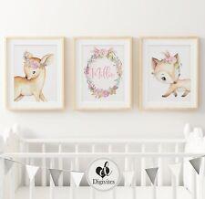 Baby Girl Woodland Nursery Prints, set of 3, Fox, bunny, Deer. Bedroom Decor